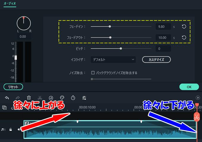 【Filmora(フィモーラ)】音量を徐々に大きくしたり小さくする方法②
