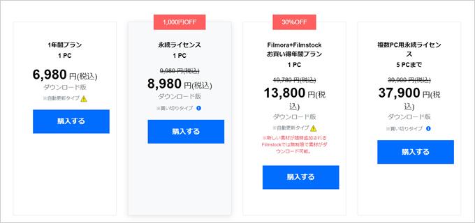 Filmora(フィモーラ)「個人向け」の料金プラン一覧