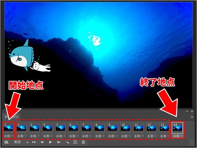 Photoshop(フォトショップ)でアニメーションGIFを作成して画像を自由に動かす方法⑨