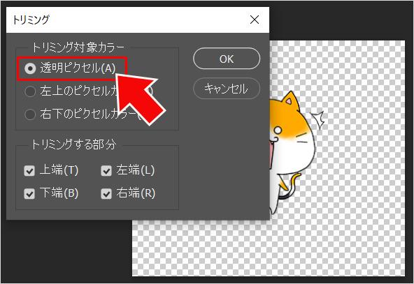 Photoshop(フォトショップ)で余分な透明背景を削除してカンバスを合わせる方法⑤
