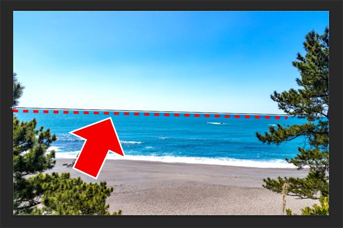 Photoshop(フォトショップ)で傾いた画像(写真)を水平に修正する方法について④